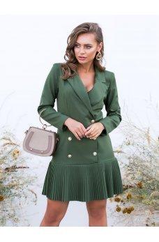 Зеленое платье-пиджак с плиссированным низом