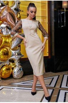 Элегантное бежевое платье миди с вырезом на спинке