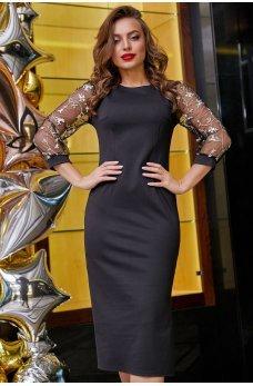 Элегантное черное платье миди с вырезом на спинке