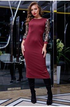 Элегантное платье цвета марсала с вырезом на спинке