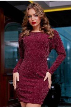 Новогоднее платье бордового цвета с люрексовой нитью