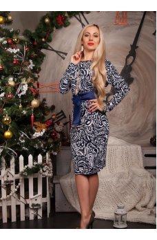 Бело-синее платье с поясом