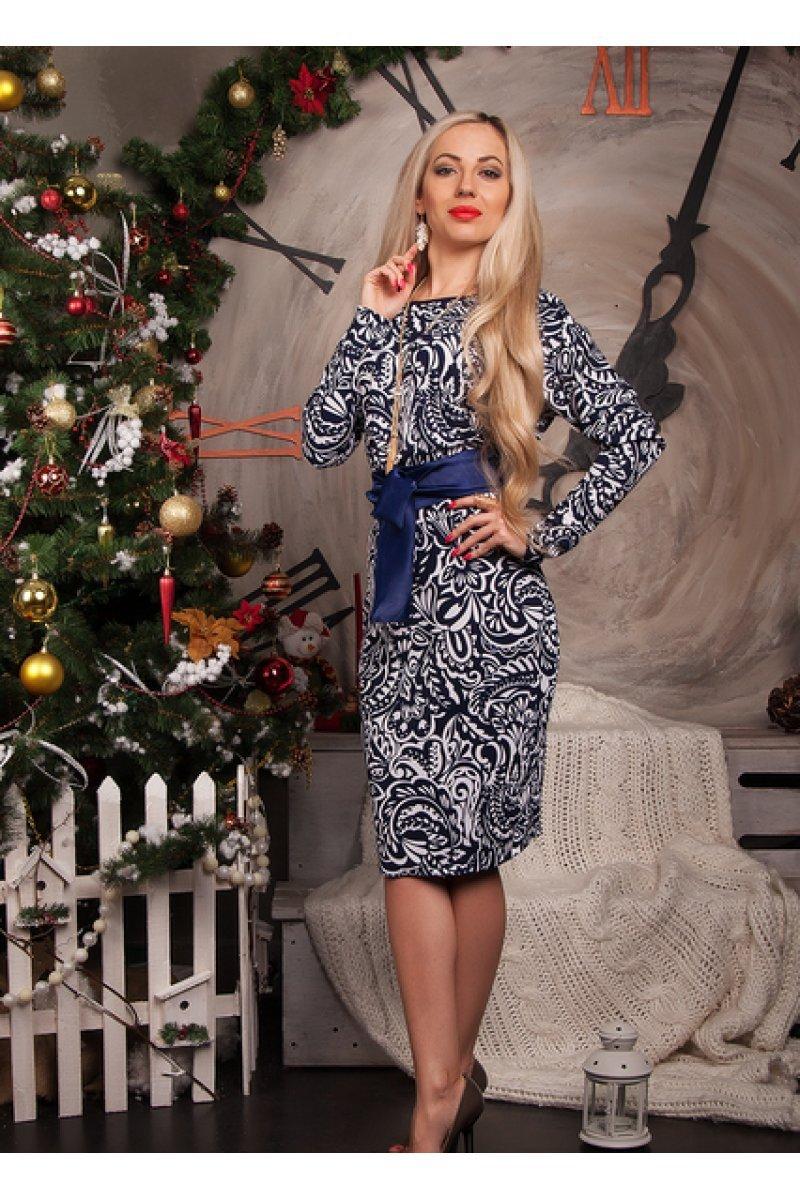 e84424406378b63 Купити плаття - Біло-синє плаття з поясом