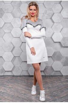 Бело-серое платье под кроссовки