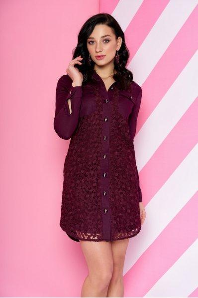 Бордовое платье рубашка с гипюром
