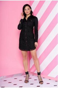 Черное платье рубашка с гипюром