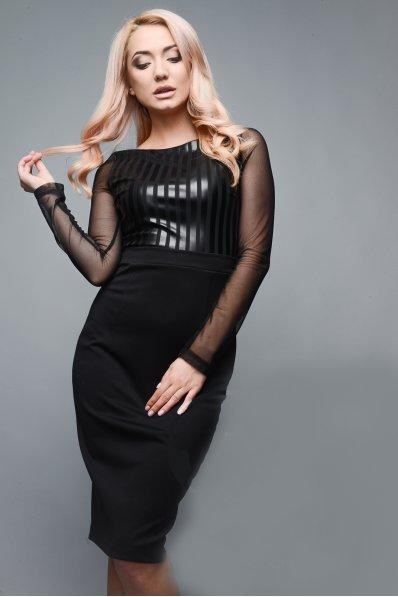 Стильное черное платье со вставками из экокожи