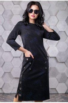 Черное трикотажное платье с накладными карманами