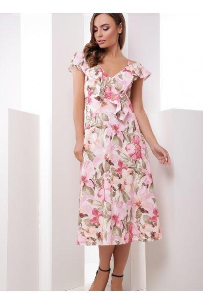 Чудесное летнее платье-миди розового цвета