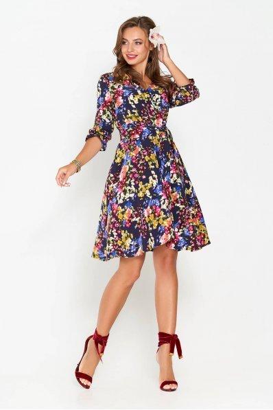 Цветастое платье с расклешенной юбкой синего оттенка