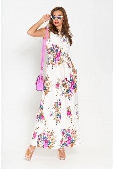 Довге легке літнє плаття з яскравим фіолетовим принтом