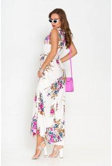 Длинное легкое летнее платье с ярким фиолетовым принтом
