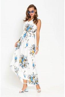 Длинное легкое летнее платье с ярким голубым принтом