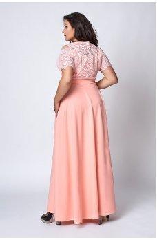 Длинное летнее платье батал цвета капучино