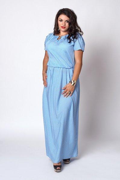 Длинный сарафан из штапеля голубого цвета в белый горошек