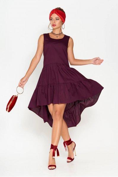 Двухъярусное платье из хлопка бордового цвета