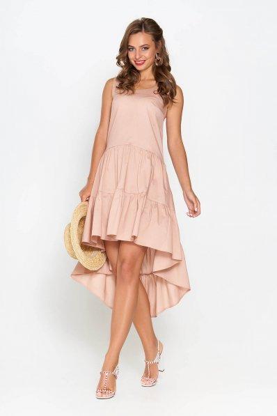 Двухъярусное платье из хлопка цвета капучино