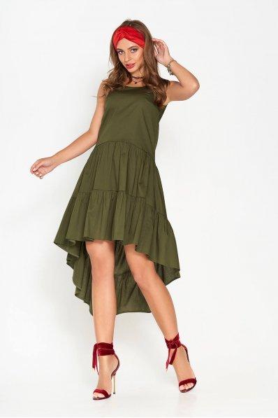 Двухъярусное платье из хлопка цвета хаки с удлиненной спинкой