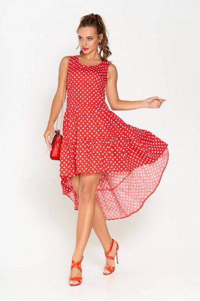 Двухъярусное платье из хлопка красного цвета в белый горошек