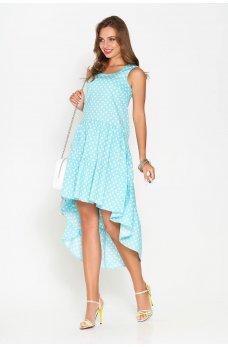 Двухъярусное платье из хлопка мятного цвета в белый горошек