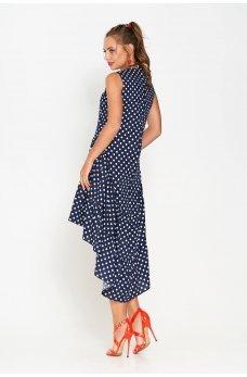 9fc79ba7cbe10e8 ... Двухъярусное платье из хлопка темно-синего цвета в белый горошек