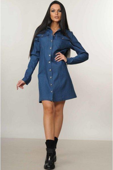 Джинсовое платье рубашка с накладными карманами