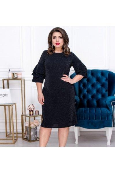 Эффектное люрексовое платье темно-синего цвета для пышных форм