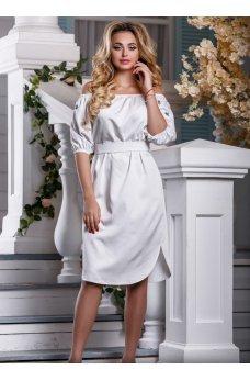 Элегантное летнее платье из белого стрейч-коттона