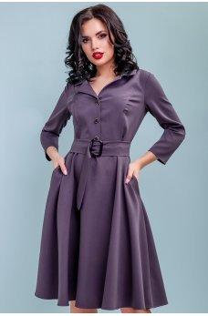 Фиолетовое платье миди с расклешенной юбкой