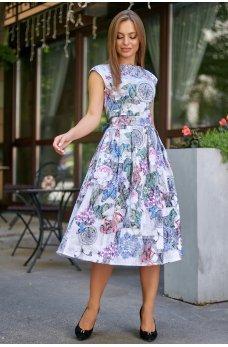 Жаккардовое платье с пышной юбкой белое принтованное