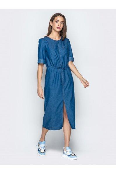 Классное джинсовое платье длиной миди