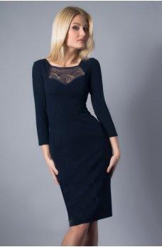 Коктейльное платье футляр темно-синего цвета