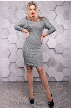 Коктейльное платье серого цвета с открытыми плечами