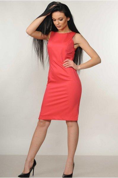 Корраловое платье с боковыми разрезами