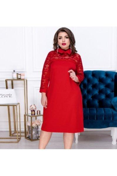 Красное платье из костюмной ткани