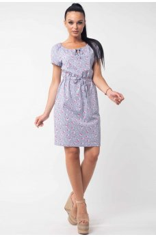 Легке літнє плаття з квітковим принтом сірого кольору