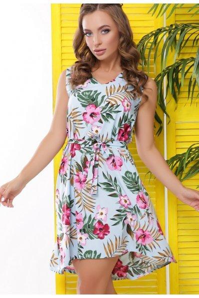 Легкое платье на лето цветочного голубого оттенка