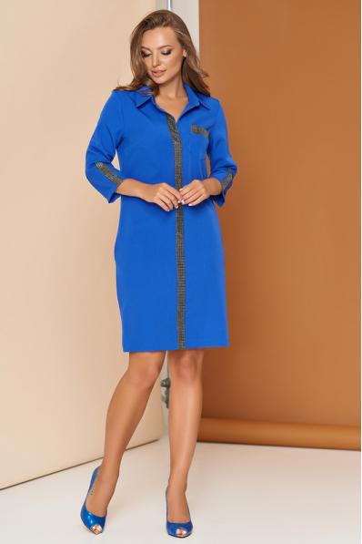 Легкое весеннее платье цвета электрик