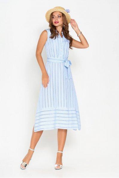 Летнее платье А-силуэта с разрезами в боковых швах голубого цвета