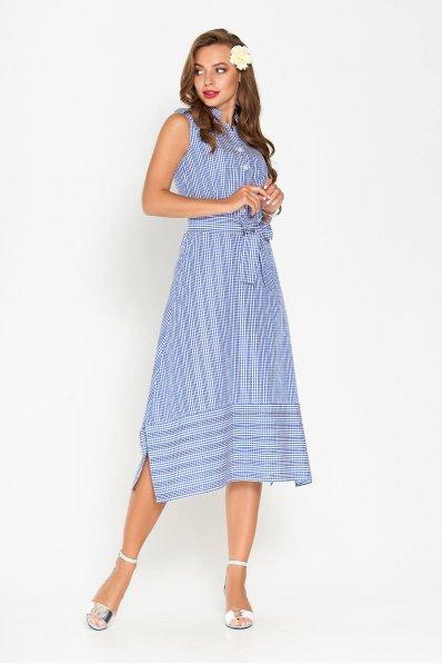 Летнее платье А-силуэта с разрезами в боковых швах синего цвета