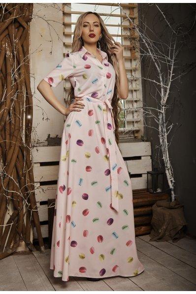 Летнее платье в пол розового цвета