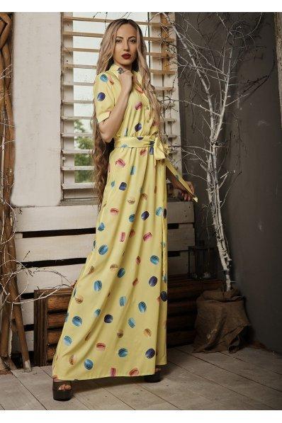 Летнее платье в пол желтого цвета