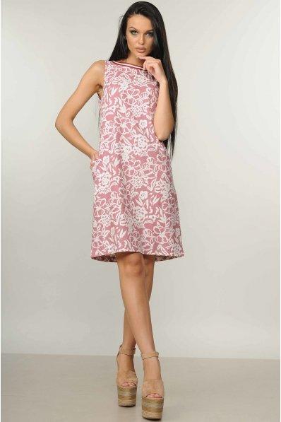 Льняное бело-розовое платье А силуэта