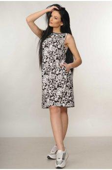 Льняное черно-белое платье А силуэта