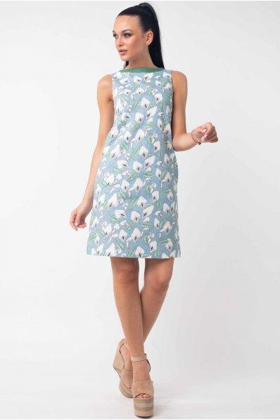 Льняное голубое принтованное платье А силуэта