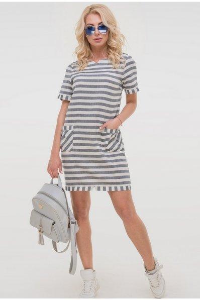 Льняное платье в серо-белую полоску