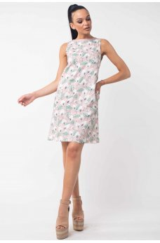 Лляне пудрове принтоване плаття А силуету
