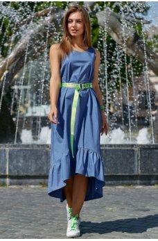 Молодежное платье голубого оттенка из стрейч-коттона