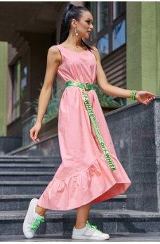 Молодежное платье розового оттенка из стрейч-коттона