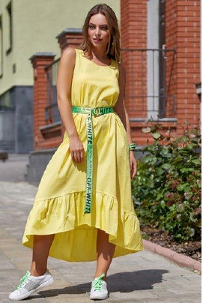Молодежное платье желтого оттенка из стрейч-коттона